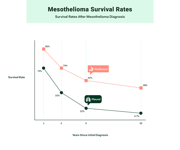 Line grpah showing years since initial Mesothelioma diagnosis survival rates.
